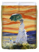 Ms Monet And Red Skies Duvet Cover