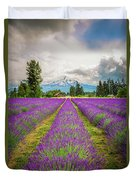 Mt. Hood And Lavender Duvet Cover