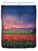 Mt. Hood And Tulip Field At Dawn Duvet Cover