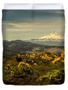 Mt. Hood And Wildflowers Duvet Cover