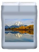 Mt Moran From Ox Bow Bend On A Fall Morning Duvet Cover