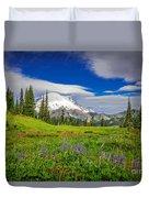 Mt Rainier And Wildflowers Duvet Cover