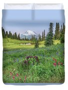 Mt Rainier Meadow Flowers Duvet Cover