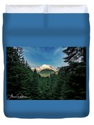 Mt Rainier Through The Trees Duvet Cover