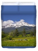 Mt Shasta With Picnic Tables Duvet Cover