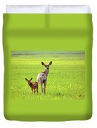 Mule Deer Doe And Fawn Looking Back Over Their Shoulders Duvet Cover