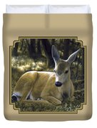 Mule Deer Fawn - A Quiet Place Duvet Cover by Crista Forest