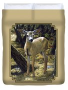 Mule Deer Fawn - Monarch Moment Duvet Cover by Crista Forest