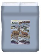 Mule Deer Lovers From River Mural Duvet Cover