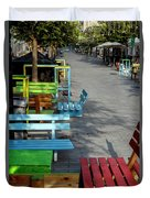 Multi-colored Benches On The Pedestrian Zone Duvet Cover