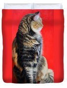 Multicolored Cat In Red Background  Duvet Cover