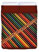 Multicolored Pencils In Rows Duvet Cover