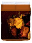 Multicolored Roses Wilting  Duvet Cover