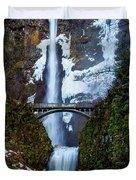 Multnomah Falls Frozen Duvet Cover