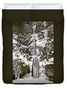 Multnomah Falls Winter Duvet Cover