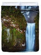 Multnomah Falls With Ice Duvet Cover