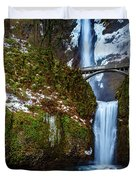 Multnomah Falls With Snow Duvet Cover