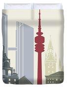 Munich Skyline Poster Duvet Cover