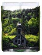 Munising Grand Island Lighthouse Upper Peninsula Michigan Vertical 01 Duvet Cover