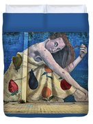 Mural Of A Woman In A Fruit Dress Duvet Cover