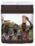 Mursi Tribesmen In Ethiopia Duvet Cover