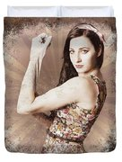 Muscle And Strength Pinup Poster Girl Duvet Cover