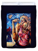 Muse Of The Long Neck In The Night City Duvet Cover