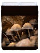Mushrooms Hidden Between The Leaves Duvet Cover