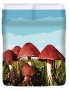 Mushrooms In Autumn Duvet Cover