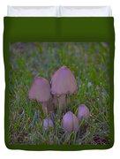 Mushrooms In Grass Duvet Cover