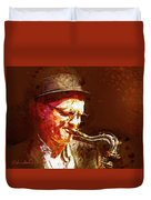 Music - Jazz Sax Player With A Hat Duvet Cover