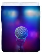 Musical Microphone On Stage Duvet Cover