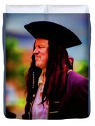 Musician In Pirate Hat And Dreadlocks - In Watercolor Photo Duvet Cover
