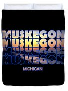Muskegon Channel Sunset Duvet Cover