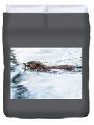 Muskrat Spring Swim Duvet Cover