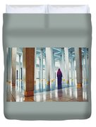Muslim Woman Dressed In The Traditional Islam Clothing Standing Inside National Mosque In Malaysia Duvet Cover