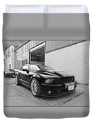 Mustang Alley In Black And White Duvet Cover