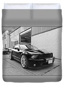 Mustang Alley In Black And White Duvet Cover by Gill Billington