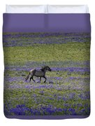 Mustang In Lupine 1 Duvet Cover by Roger Snyder