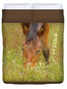 Mustang In The Grass Duvet Cover