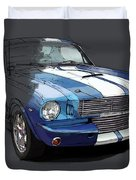 Mustang Shelby Gt-350, Blue And White Classic Car, Gift For Men Duvet Cover