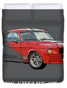 Mustang Shelby Gt500 Red, Handmade Drawing, Original Classic Car For Man Cave Decoration Duvet Cover