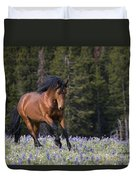 Mustang Stallion And Lupines Duvet Cover