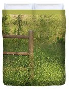 Mustard Grass And Fence At Entrance To Peters Canyon Duvet Cover
