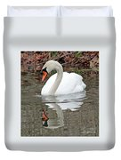 Mute Swan Reflecting Duvet Cover