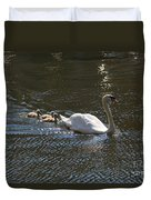 Mute Swan With Three Cygnets Following Duvet Cover