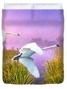 Mute Swans Over Marshes Duvet Cover