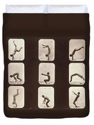 Muybridge Locomotion Back Hand Spring Duvet Cover by Photo Researchers