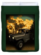 My 51 Willys Jeep Pickup Truck At Sunset Duvet Cover