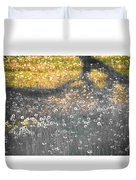My First Manipulated Image Crowd Of Dandelions In Shadow Of Tree Branches Duvet Cover